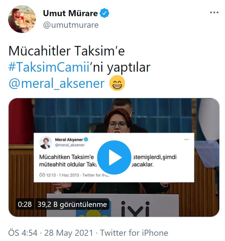 Akşener'in Taksim tweeti gündem oldu